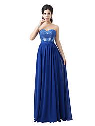 A-ligne sweetheart floor length robe de soirée en dentelle en mousseline de soie avec appliques