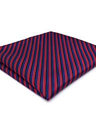 CH17 For Classic Men Pocket Square Handkerchiefs Blue Red Stripes 100% Silk Wedding Business Handmade