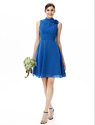 A-Line High Neck Knee Length Chiffon Bridesmaid Dress with Flower(s) Pleats Ruching by LAN TING BRIDE®