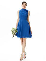 LAN TING BRIDE Knee-length High Neck Bridesmaid Dress Sleeveless Chiffon