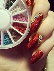 1мм 3d украшения для ногтей украшения золото серебро красочные шарики колесо все для ногтей DIY ногтей мяч колеса