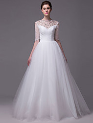 Ball Gown Wedding Dress - Chic & Modern Floor-length Jewel Tulle with Beading Crystal Pearl Sequin