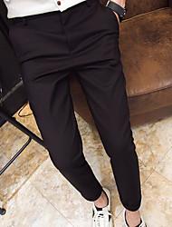 Masculino Simples Cintura Média Micro-Elástica Chinos Calças,Delgado Cor Única