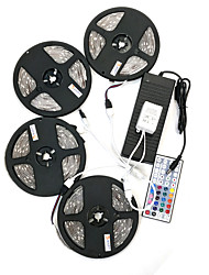 Zdm 20m (4 * 5m) imperméable à l'eau 120w 600leds 5050 rgb strip flexible light 44key contrôleur à distance kit 10a alimentation ac110-240v
