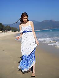Women's Beach Swing Dress,Floral Strap Maxi Sleeveless Silk Summer Mid Rise Micro-elastic Thin