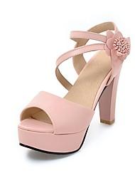 Damen-Sandalen-Lässig-Mikrofaser-Blockabsatz-Club-Schuhe-