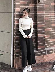 Feminino Simples Cintura Alta Micro-Elástica Chinos Calças,Reto Cor Única