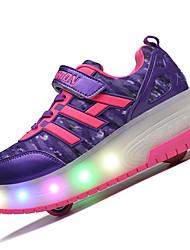 Kids Girls Boys' Athletic Shoes Fall Winter Light Up Shoes Luminous Shoe PU Outdoor Athletic Roller Skate Shoes LED Blue Light Purple Black
