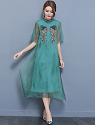 Women's Going out Chinoiserie Loose Dress,Embroidered Crew Neck Midi ½ Length Sleeve Polyester Summer Mid Rise Micro-elastic Medium