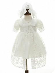 Vestido de baile com vestido de flor com joelho - organza manga curta gola de joia