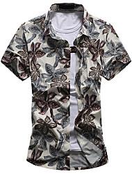 Для мужчин На выход На каждый день Большие размеры Лето Рубашка Рубашечный воротник,Простое Цветочный принт С короткими рукавами,Хлопок