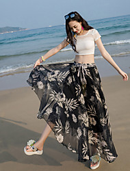 Women's High Rise Maxi Skirts Swing Floral