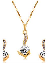 Colar Brincos Set Pingentes Imitação de Diamante Euramerican Moda Cristal Liga cabeça 1 Colar 1 Par de Brincos ParaCasamento Festa