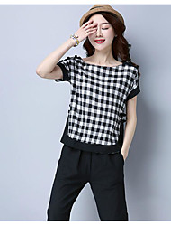 Women's Going out Chinoiserie T-shirt,Check Round Neck Short Sleeve Cotton