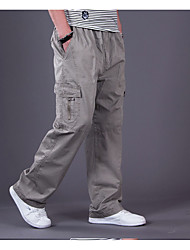 Men's Mid Rise Inelastic Chinos Pants,Simple Loose Straight Solid