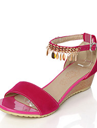 Women's Sandals Summer D'Orsay & Two-Piece Comfort Leatherette Wedding Party & Evening Dress Low Heel Buckle Hollow-outBlushing Pink Blue