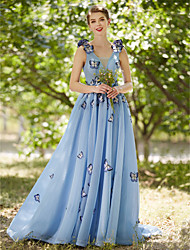2017 Formal Evening Dress - See Through A-line V-neck Court Train Tulle with Flower(s) Pleats