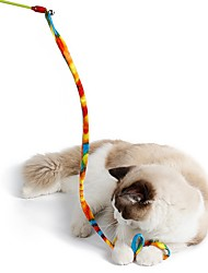 Brinquedo Para Gato Brinquedos para Animais Interativo Brinquedo de Provocação Corda Dobrável Bastão Gato Plástico Tecido