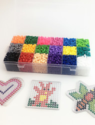 Approx 5400PCS 18 Color 5MM Fuse Beads Set with 3PCS Random Mixed Shape Template Clear Pegboard Heart Hexagram DIY Jigsaw(Set A18*300PCS)