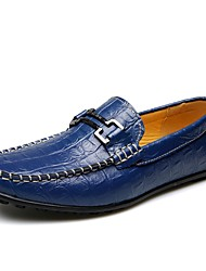Men's Loafers & Slip-Ons Comfort Cowhide Office & Career Casual  Blue Provide Big Size