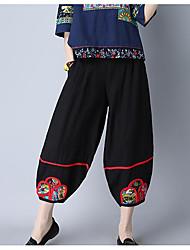 Feminino Simples Cintura Alta Micro-Elástico Chinos Calças,Solto Estampado