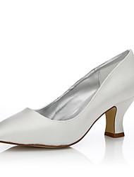 Feminino-Sapatos De Casamento-Conforto Sapatos Dyeable-Salto Grosso-Ivory-Seda-Casamento Ar-Livre Escritório & Trabalho Social Festas &