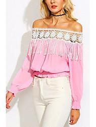 Damen Verziert Street Schick Anspruchsvoll Ausgehen Lässig/Alltäglich Bluse,Bateau Langarm Seide Baumwolle Kunstseide