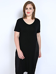 Really Love Women's Plus Size Casual/Daily Holiday Sexy Simple Cute Spring Summer T-shirt,Solid V Neck Short Sleeve Modal Medium