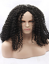 Natural Brown/Black Afro Kinky Curly Synthetic Lace Front Wigs 130% Density Heat Resistant Synthetic Women's Wigs Long
