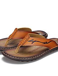 Masculino-Chinelos e flip-flops-Solados com LuzesAmarelo Terra Castanho Escuro-Couro Ecológico-Casual