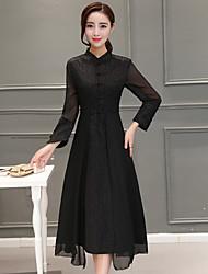 Damen A-Linie Kleid-Lässig/Alltäglich Einfach Solide Rundhalsausschnitt Maxi Asymmetrisch Langarm Seide Frühling Hohe Hüfthöhe