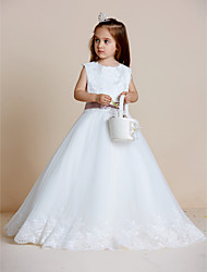 A-Line Floor Length Flower Girl Dress - Satin Tulle Sleeveless Jewel Neck with Appliques by XFLS