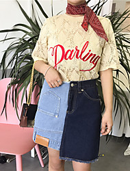 Damen Solide Einfach Lässig/Alltäglich T-shirt,Rundhalsausschnitt ½ Länge Ärmel Baumwolle