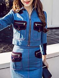 Sweat à capuche Robes Costumes Femme,Points Polka Décontracté / Quotidien Street Chic Sophistiqué Automne Hiver