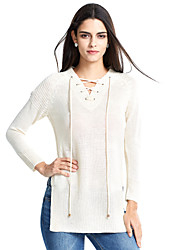 Women's Lace up Casual/Daily Sexy Long Pullover,Solid Beige / Yellow V Neck Long Sleeve Cashmere Spring Medium