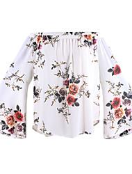 Feminino Blusa Casual Praia Simples Moda de Rua Primavera Verão,Floral Algodão Poliéster Decote Canoa Manga Longa Fina