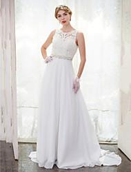 A-line Wedding Dress Beautiful Back Chapel Train Scoop Chiffon Lace with Beading Button Lace