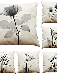 Set of 6 Gray Flowers Pattern Linen Pillowcase Sofa Home Decor Cushion Cover  Throw Pillow Case (18*18inch)