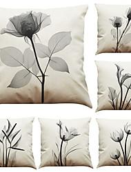 6 PC Lino Cobertor de Cojín Funda de almohada,Geométrica Sólido Con Texturas Estilo playero Tradicional/Clásico Reforzar