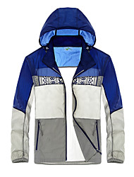 Men's Plus Size Simple Summer Blouse,Color Block Hooded Long Sleeve Acrylic