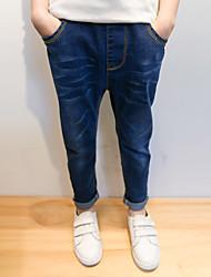 Para Meninos Jeans Casual Cor Única Primavera