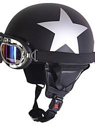 Unisexe nouveau été vintage moto casques ouvert visage demi moto&Casque de lunettes