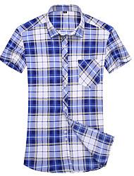 Men's Fashion Print Casual Slim Fit Short Sleeve Shirt  Cotton /Polyester/Work/Big Size