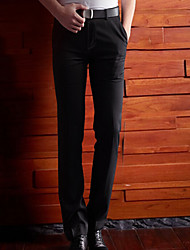 Men's High Rise Inelastic Business Pants,Simple Straight Slim Solid