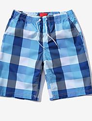 Homme simple Taille Normale Micro-élastique Short Pantalon,Ample Damier
