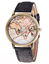 Men's Women's Airplane World Map Metal Denim Leisure Quartz Watch
