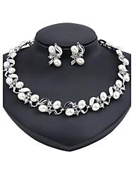 Set de Bijoux Perle imitée Mode euroaméricains Classique Imitation de perle Strass Forme Ronde Argent1 Collier 1 Paire de Boucles