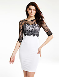 Women's Lace Going out Sexy Sheath Dress,Patchwork Round Neck Knee-length ½ Length Sleeve White / Black Polyester Summer