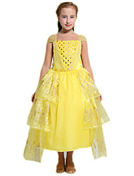 Ball Gown Tea-length Flower Girl Dress - Tulle Polyester Straps with Pattern / Print Sequins