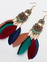 Long Feather Earrings For Women Big Fine Jewelry Gift